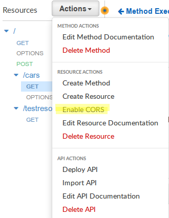 AWS API Gateway - Enable CORS